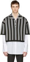 Raf Simons Black & Grey Stripe Oversized Cropped Polo