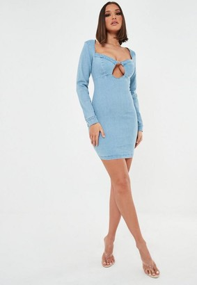 Missguided Petite Blue Bust Cut Out Denin Mini Dress