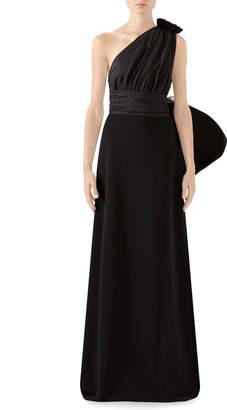 Gucci One-Sleeve Jersey Gown With Oversize Taffeta Shoulder Detail