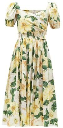 Dolce & Gabbana Camellia-print Shirred Cotton-poplin Midi Dress - Yellow Multi