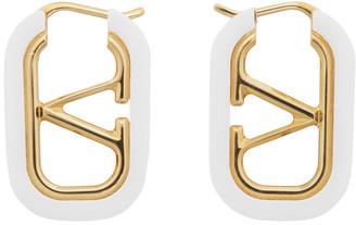 Valentino Gold and White Garavani VLogo Hoop Earrings