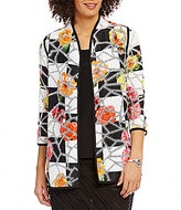 IC Collection 3/4 Sleeve Open Front Floral Patchwork Jacket