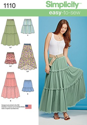 Simplicity Women's Bohemian Tiered Skirts Sewing Pattern, 1110