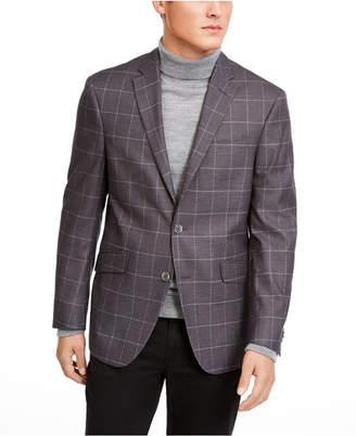 Kenneth Cole Reaction Men Slim-Fit Stretch Gray Windowpane Sport Coat