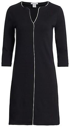 Joan Vass Petite Contrast-Trim Shift Dress