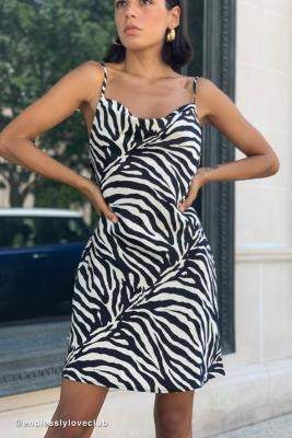 Urban Outfitters Mallory Zebra Print Cowl Neck Slip Dress - black S at