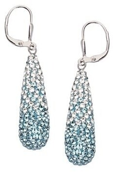 Curata 925 Sterling Silver Rhodium Plated Large Crystal TearLong Drop Dangle Earrings Clear to Blue Lever Back Jewelry Gifts for