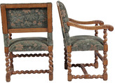 One Kings Lane Vintage English Oak Barley Twist Armchairs - Blink Home Vintique - multi