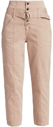 Joe's Jeans High-Rise Exposed Button Cropped Trousers