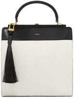 Tom Ford Large Bicolor Leather Satchel Bag w/Calf Hair Tassel, White/Black