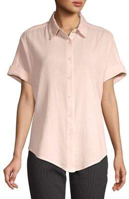 Lord & Taylor Petite Short-Sleeve Cotton Button-Down Tie-Front Shirt