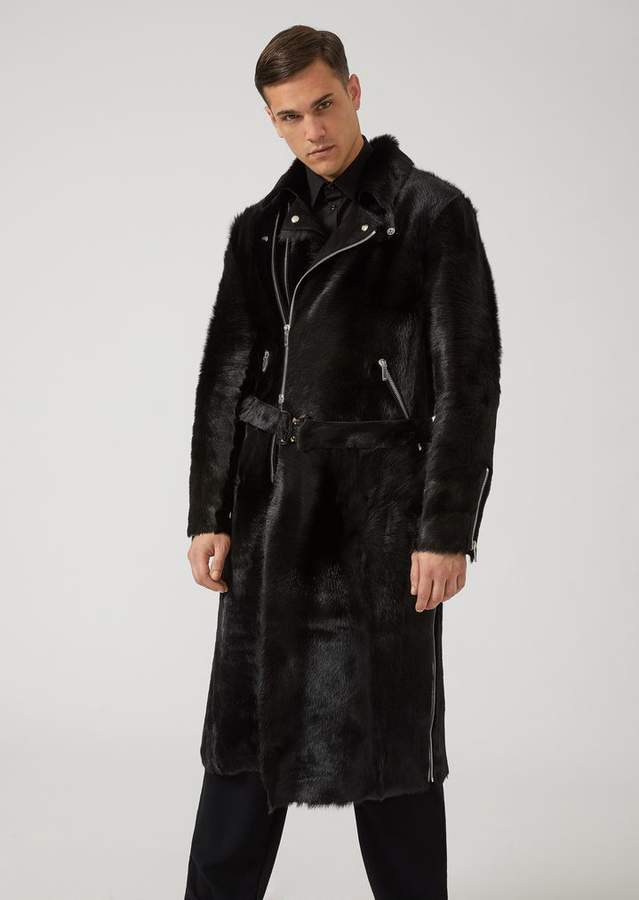 Emporio Armani Double-Breasted Coat In Long-Haired Pony-Effect Calfskin