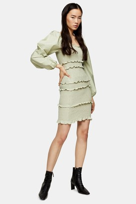 Topshop Womens Sage Shirred Pop Mini Dress - Sage