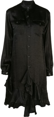 Julien David Long-Line Ruffle Trimmed Shirt