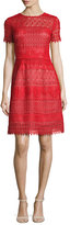 Marchesa Short-Sleeve Macramé; Lace A-Line Dress, Red
