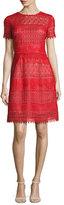 Notte by Marchesa Short-Sleeve Macramé; Lace A-Line Dress, Red