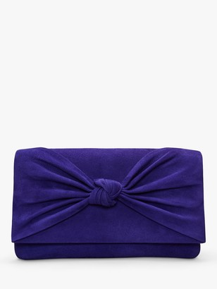 Phase Eight Carrie Knot Front Suede Clutch Bag, Cobalt