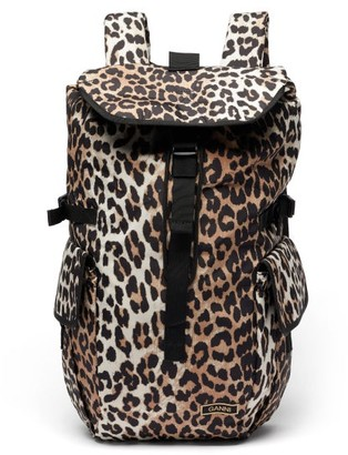 Ganni Leopard-print Recycled-shell Backpack - Leopard