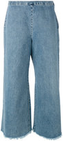 Simon Miller frayed wide leg cropped jeans - women - Cotton - 2
