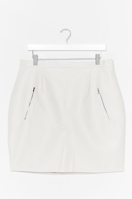 Nasty Gal Womens Zip's Now or Never Plus Faux Leather Mini Skirt - White