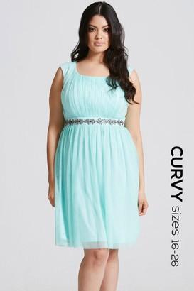 Little Mistress Curvy Seafoam Embellished Waist Prom Dress