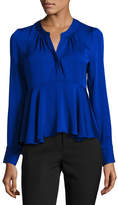 Milly Brooke Long-Sleeve Stretch-Silk Peplum Top, Cobalt