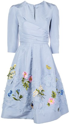 Oscar de la Renta Floral Embroidery Silk Dress
