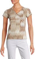 Ruby Rd Patchwork Print Surplice Top