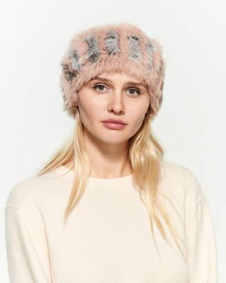 C Lective Blush & Grey Real Fur Headband