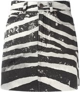 Marc Jacobs distressed zebra print mini skirt - women - Cotton - 26