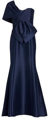 Badgley Mischka Asymmetrical Wrap Gown