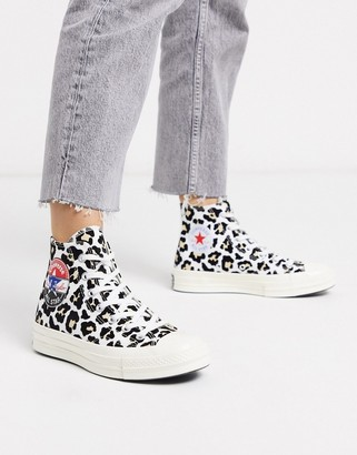 Converse Chuck '70 Hi flocked leopard print trainers