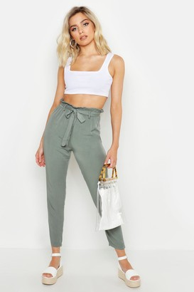 boohoo Button Detail Tapered Pants