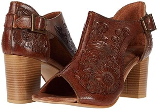 Roper Mika Closed Back (Tan Floral Tooled Leather) Women's Shoes