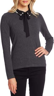 CeCe Embellished Collar Tie Neck Sweater