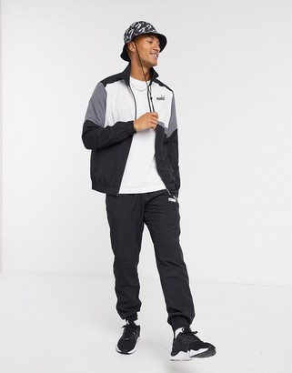 Puma woven tracksuit in grey and black