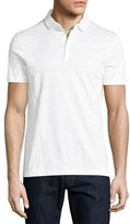 BOSS Structure-Striped Cotton Polo Shirt, White