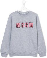 MSGM logo appliqué sweatshirt - kids - Cotton - 14 yrs