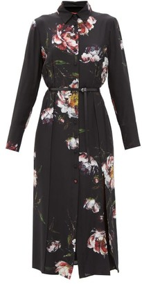 Altuzarra Edith Belted Floral-print Silk Shirt Dress - Black