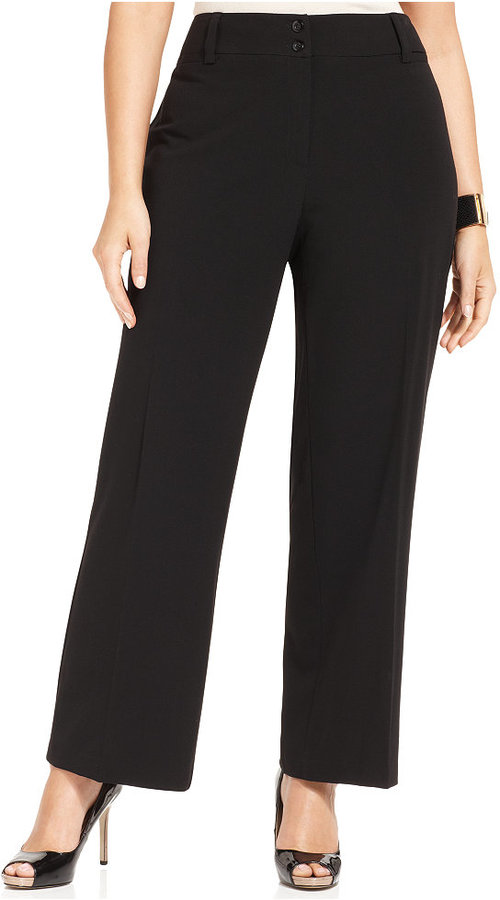 Amy Byer Plus Size Black Stretch Suiting Pants