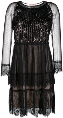 Twin-Set Sequin Embellished Lace Dress