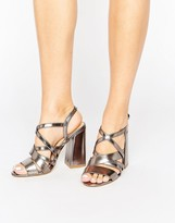 New Look Metallic Strappy Block Heeled Sandal