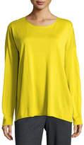 Eileen Fisher Long-Sleeve Fine-Gauge Knit Top