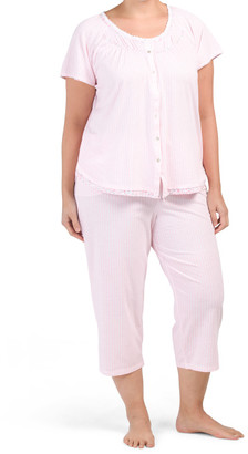 Plus Button Front Striped Capri Pajama Set