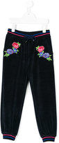 MSGM floral embroidered velour track pants