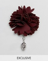 Noose & Monkey Fabric Lapel Pin In Burgundy