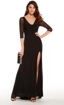 Alyce Paris - 27267 Sheer Quarter Sleeve Slit Evening Gown