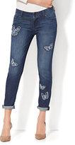 New York & Co. Soho Jeans - Embroidered Butterfly Boyfriend - Rain Shower Blue Wash