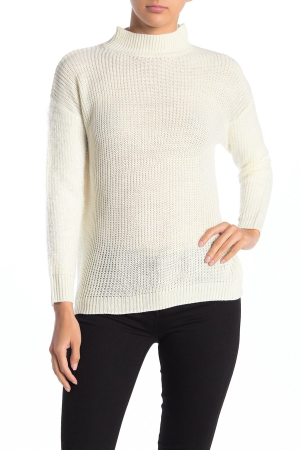 Love by Design Mock Neck Fuzzy Sleeve Sweater