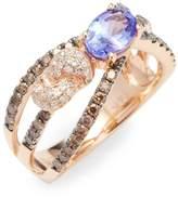 Effy Women's 14K Rose Gold Diamond, Espresso Diamond and Tanzanite Ring